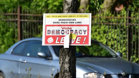 A 'vote leave' sign on Farrow Road, Norwich.Picture: ANTONY KELLY