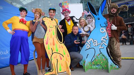 Launching GoGoHares! at the Forum the public enjoy a Mad Hatters Tea Party before the unveiling of t