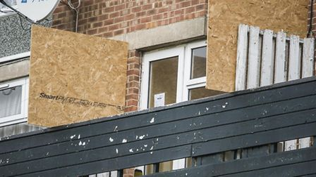 The flat on Hillington Square in King's Lynn, which has been sealed off, and its tenants removed. Pi