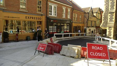 Picture of the roadworks and improvements to St Georges Street in Norwich.Photo: Angela Sharpe pics