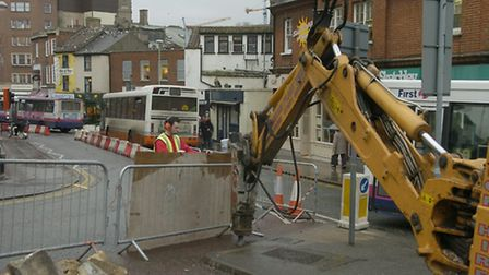 Norwich Roadworks: Council workmen and contractors start work and put into place the signs and restr