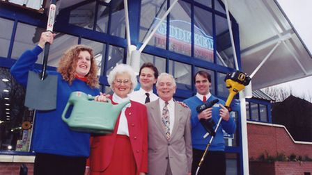 Opening day at Godfrey DIY Superstore in April 1998. Left to right: Sam Glanfield, Shelia Godfrey. B