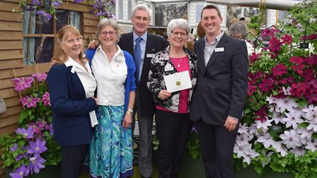 Thorncroft Clematis has won a gold medall at the 2016 Chelsea Flower Show. Pictured feft to right: S