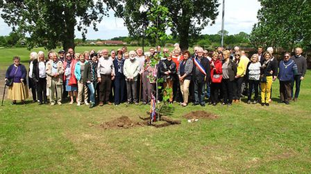 xxx_Members of the Downham Market with Civray Twinning Club with the tree given by Civray_Picture.Su