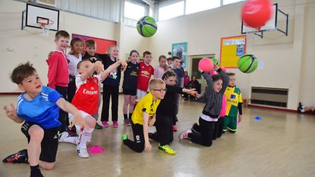 Youngsters from Elm Tree Primary school take part in a sponsored dodgeball competition for the Briti