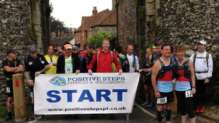 Competitors line up at the start of the second annual Norfolk 100km in Castle Acre.