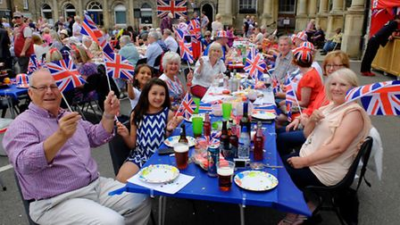 Party-goers at the Thetford street party for the Queen's 90th birthday.