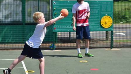 Street Snooker at The Costessey Centre. A Costessey Junior School pupil playing the game.Picture: AN