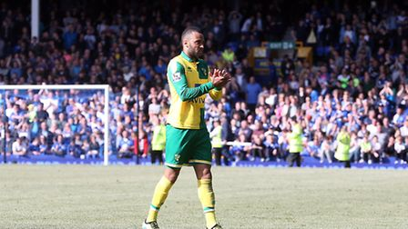 Nathan Redmond of Norwich at the end of the Barclays Premier League match at Goodison Park, Liverpoo