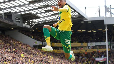 Nathan Redmond of Norwich celebrates scoring at Carrow Road, Norwich. Picture by Paul Chesterton/Foc