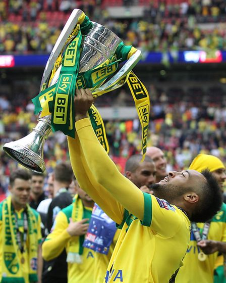 Redmond with the trophy at the end of the Sky Bet Championship Play-off Final at Wembley Stadium, Lo