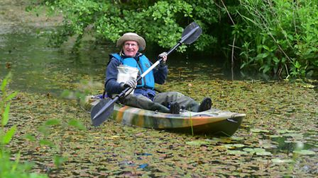 Gerald Burns setting off on his fundraising canoe trip from Halesworth to Southwold.PHOTO: Nick Butc