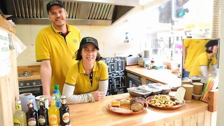 Ruth and Julian Kitcher in their Jerusalem street food eatery called Ruth's Kitchen in Magdalen Stre