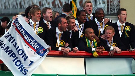Norwich City's promotion parade after winning the Division One title in 2004. Picture: James Bass