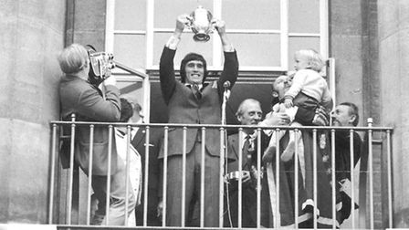 Duncan Forbes holding the Division Two trophy at Norwich City Hall in 1972. Picture: Archant Library