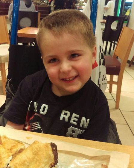 Finnbar Cork, aged five, of Hethersett, who is fighting a brain tumour. Pictured in March 2016 durin