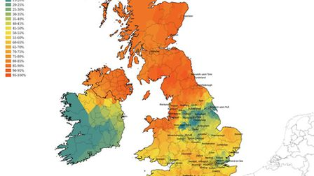 """A map showing the differing pronounciation of the word """"scone"""" across the UK. Picture: Cambridge Uni"""