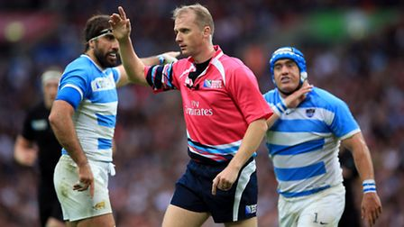 Referee Wayne Barnes during the Rugby World Cup match at Wembley Stadium, London. PRESS ASSOCIATION