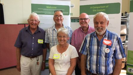 Members of the Diss-Organised group with the revised plans for the Frenze Hall Lane development. Pic