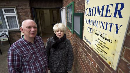 Phil Hall and Sylvie Kilshaw outside the Cromer Community Centre.Picture: MARK BULLIMORE