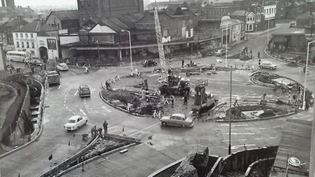 The way it was more than 50 years ago. St Stephen's roundabout and subway being built in Norwich.
