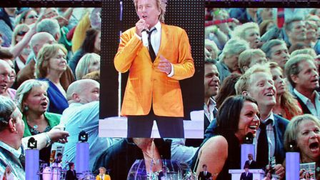 Rod Stewart in concert at Carrow Road, Norwich, in 2011. Photo by Adrian Judd