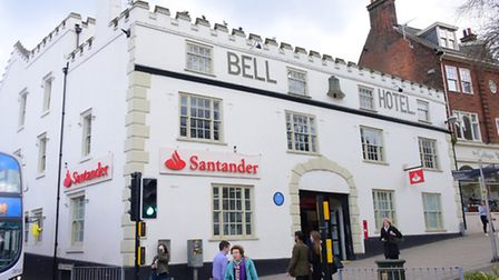 The Bell Hotel and Santander bank in Norwich.PHOTO BY SIMON FINLAY