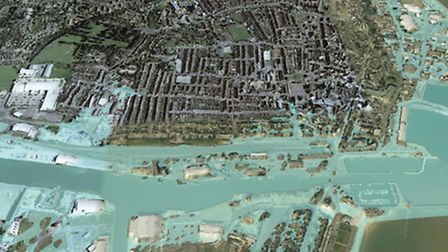 An image released by Waveney District Council of a one in 200 chance of flooding in Lowestoft if the