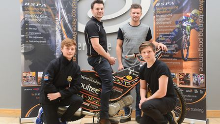 Poultec Speedway open day. Pictured are (from left) Connor Mountain, Olly Allen, Danyon Hume and Kel
