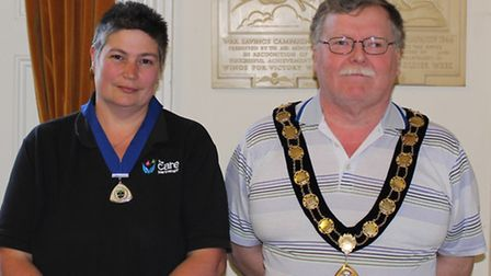 Barry Hester, North Walsham mayor for 2016-2017, with deputy mayor Sally Stuckey. Picture: SUBMITTED