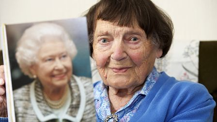 Trudy Raven celebrated her 100th birthday with a card from the Queen. Picture: MARK BULLIMORE