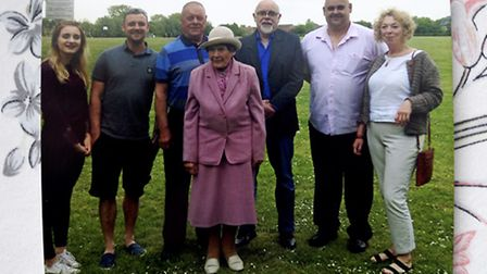 Trudy Raven at her surprise birthday party with five generations of her family around her.