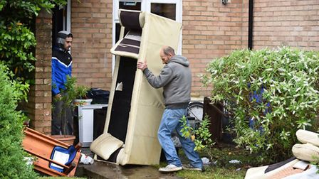 Homes on Aldwyck Way, Lowestoft which have been seriously flooded.Picture: James Bass