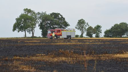 A fire engine at the scene of the stubble fire at Colkirk. Picture: Chris Bishop