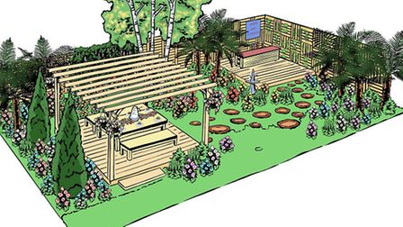 An artist's impression of the garden inspired by the many celebrations for Her Majesty The Queen's 9