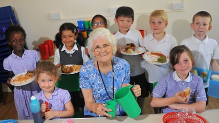 June Walker has been a dinner lady at Saint Francis of Assisi Roman Catholic School in Norwich for 1