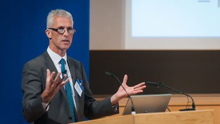 Gordon Boyd, assistant director of education, speaking at the Norfolk headteacher conference. Photo: