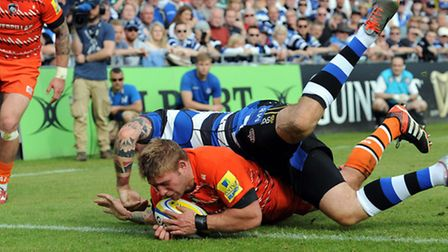 Tom Youngs scoring a try for Leicester at Bath. Picture: Andrew Matthews/PA Wire
