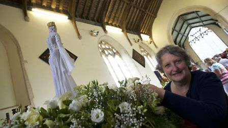 Shakespeare themed flower festival and open crypt at St Margaret's Church in Felbrigg. Pictured is H