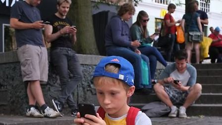 Arthur Chedgey was one of many playing Pokemon Go in Norwich this weekend.