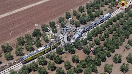 The crash between two trains took place on the single-track stretch between Ruvo di Puglia and Corat