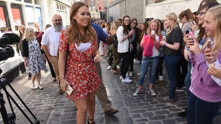 Tanya Burr meeting fans queuing for her book signing at Jarrold, July 3, 2016. Photo: Steve Adams