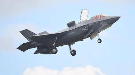 The F-35 Lightning making a first flypast over its future home at RAF Marham. Picture: Ian Burt