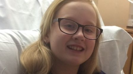 Maisie Lossau pictured in hospital in February 2016.