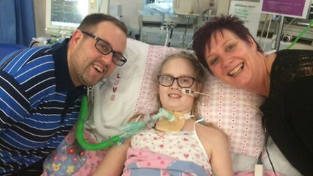Maisie pictured in hospital in February.