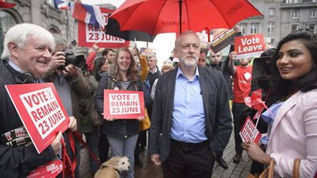 Labour leader Jeremy Corbyn during the EU referendum campaign. He is not facing a no confidence moti