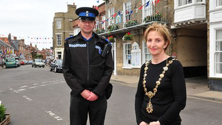 Southwold mayor Melanie Tucker with the Town's new PCSO Jamie Newson. PHOTO: Nick Butcher