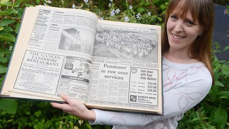 With a copy of The Mercury from 1991 is Swaffham Junior Academy teacher Rachael Weedon. Picture: Ian