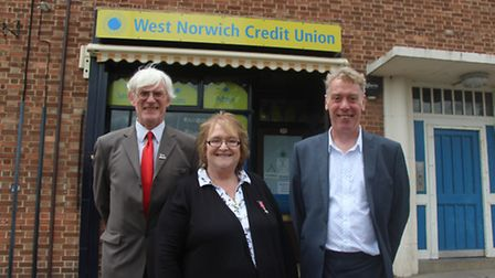 Norwich City Council leader Alan Waters, Freda Sheehy and West Norwich Credit Union president Ian Le