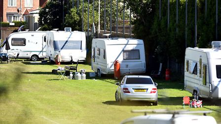 Travellers have moved onto the Barnard Bridge playing field, on Barnard Avenue, owned by Great Yarmo